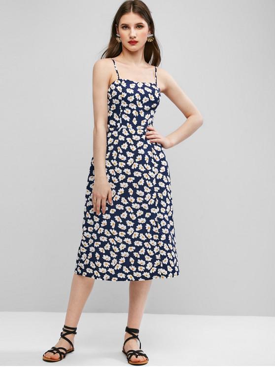 shops ZAFUL Floral Smocked Back Cami Dress - CADETBLUE L