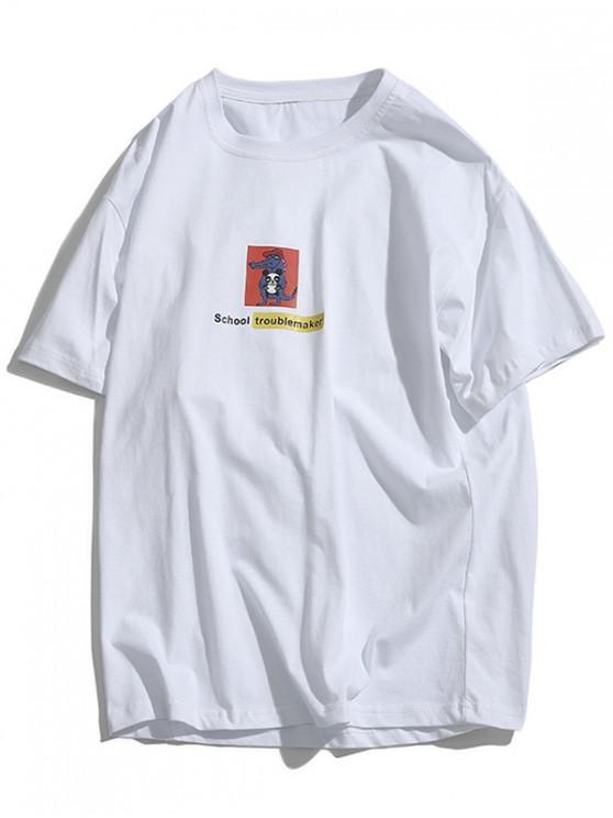 chic School Troublemaker Cartoon Animal Print Basic T-shirt - WHITE L