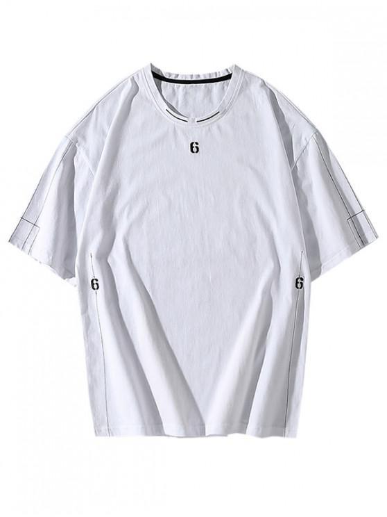 ladies Six Embroidery Short Sleeve Basic T-shirt - WHITE L