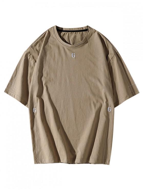 Six Embroidery Short Sleeve Basic T-shirt - كاكي L