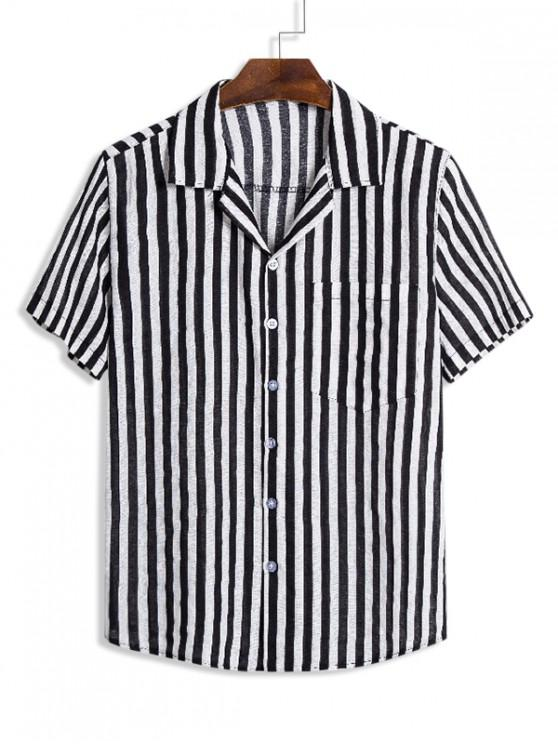 shops Vertical Striped Pocket Short Sleeve Casual Shirt - MULTI 3XL