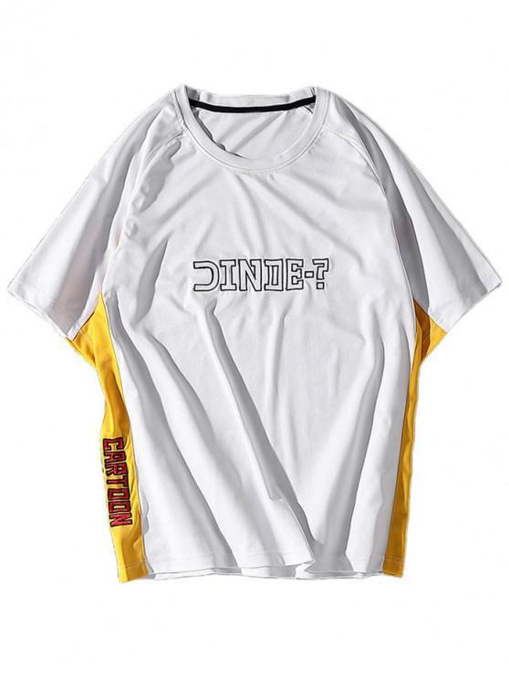 T-shirt Lettre Imprimée Panneau en Blocs de Couleurs à Manches Raglan - Blanc XS