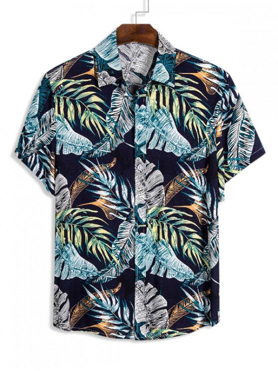 Camisa de Camiseta de Hawai con Estampado Tropical de Hojas - Multicolor M