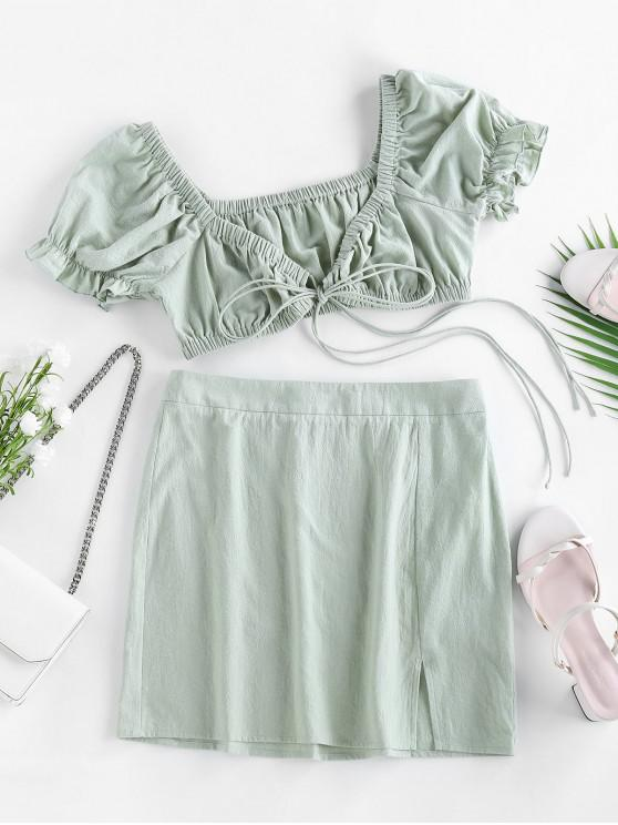 ZAFUL Tie Front Cotton Two Piece Dress - أخضر XL