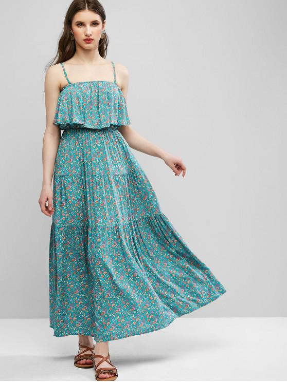chic Ditsy Floral Cami Flounce Bohemian Dress - GREEN S