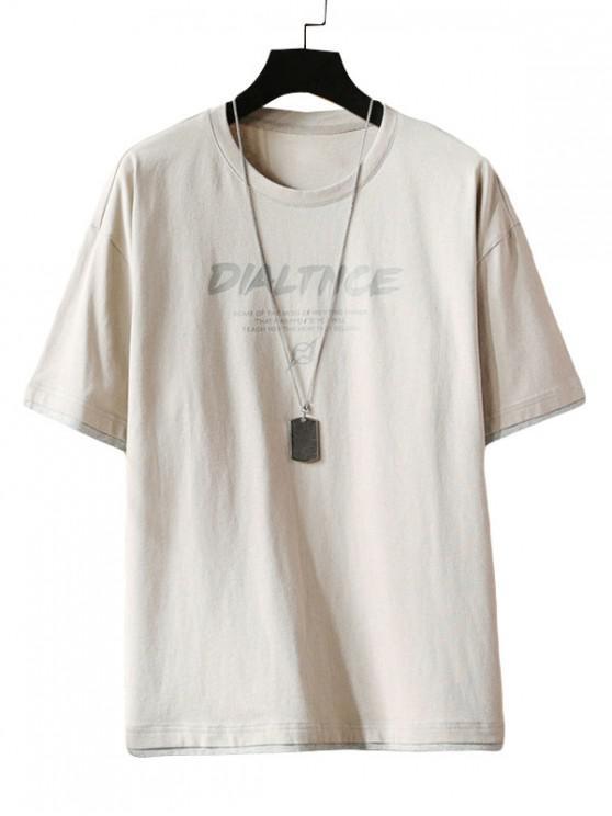 Letter Print Short Sleeve T-shirt - رمادي فاتح 3XL