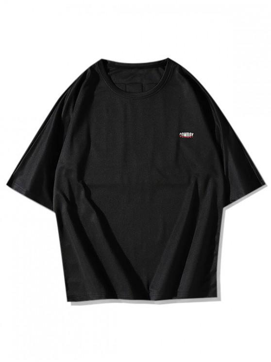 Cowboy Pattern Basic T-shirt - أسود 3XL