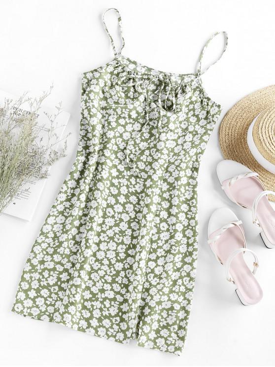 ZAFUL Vestido Mini Cami con Abertura y Estampado de Flor - Verde claro XL