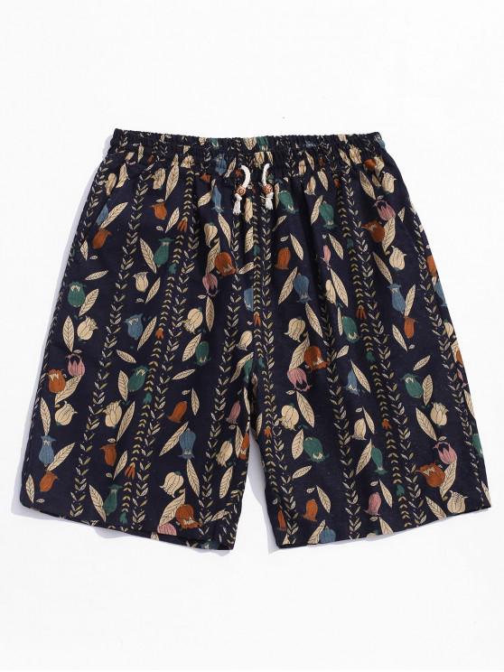 womens Drawstring Leaves Print Casual Shorts - BLACK M