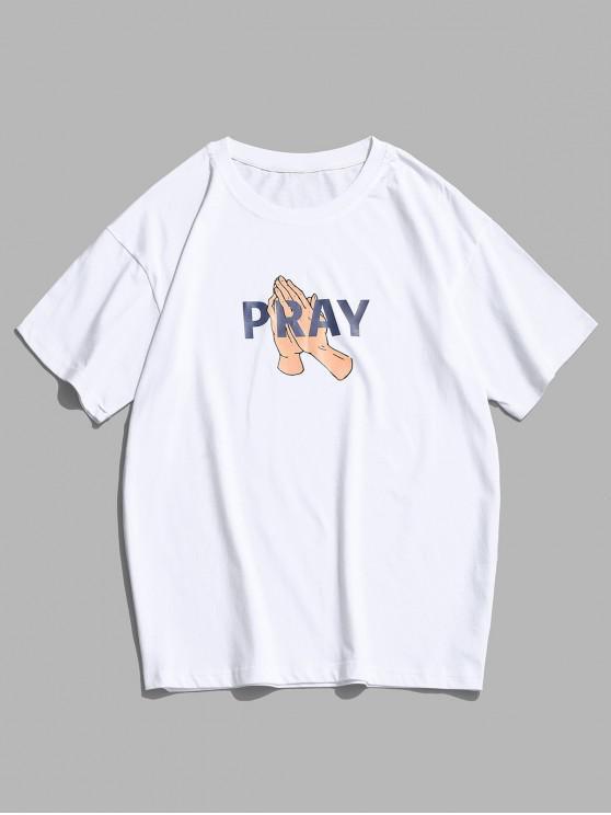 Pray Graphic Print Basic T-shirt - أبيض XS