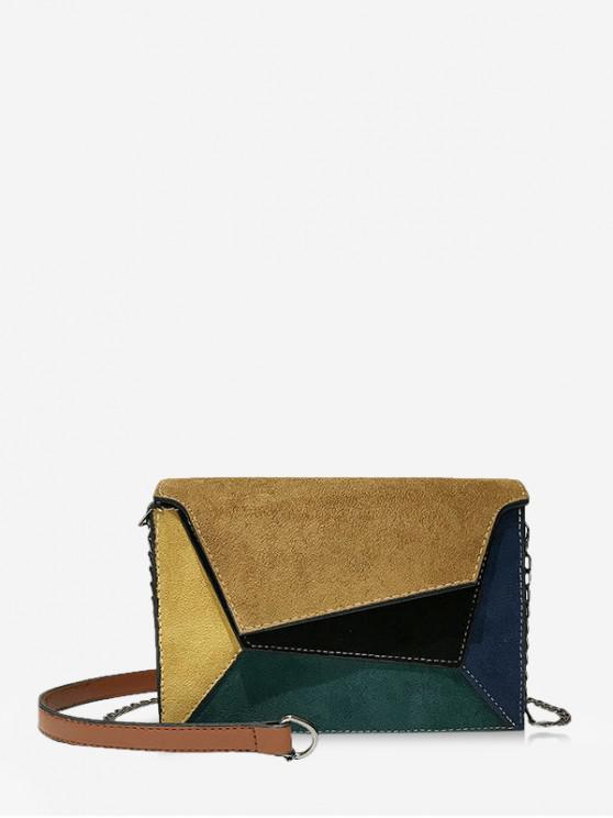 Colorblock Geometric Crossbody Bag - نحلة صفراء