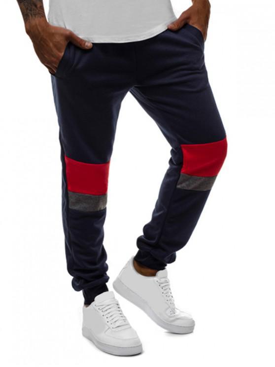 Pantalones Jogger Casuales de Bloqueo de Color a Rayas - Cadetblue M