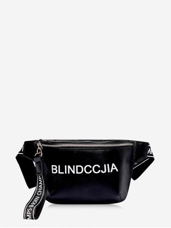 outfit Letter Print Leather Wide Strap Chest Bag - BLACK