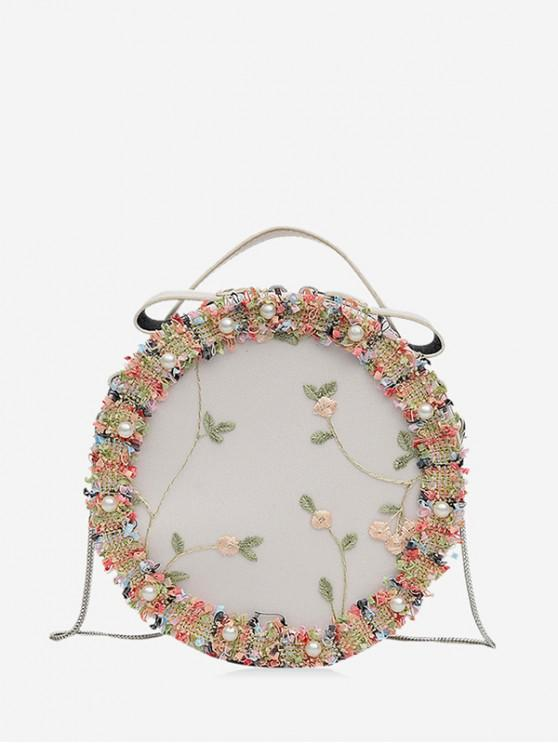 chic Floral Lace Crossbody Canteen Bag - WHITE