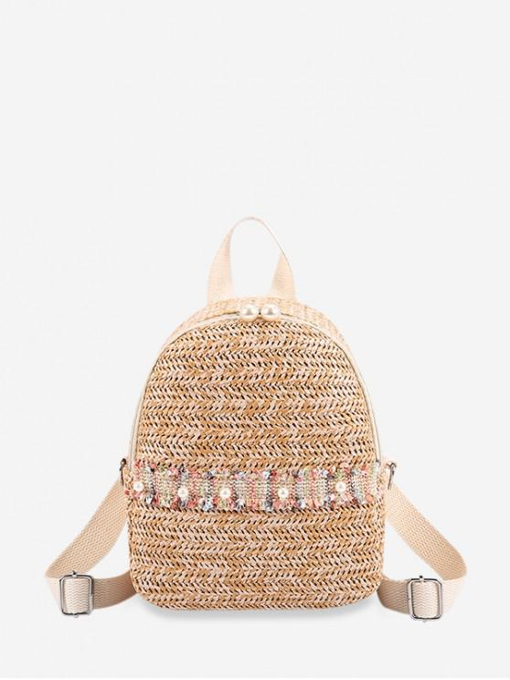 sale Faux Pearl Embellished Straw Small Backpack - TAN