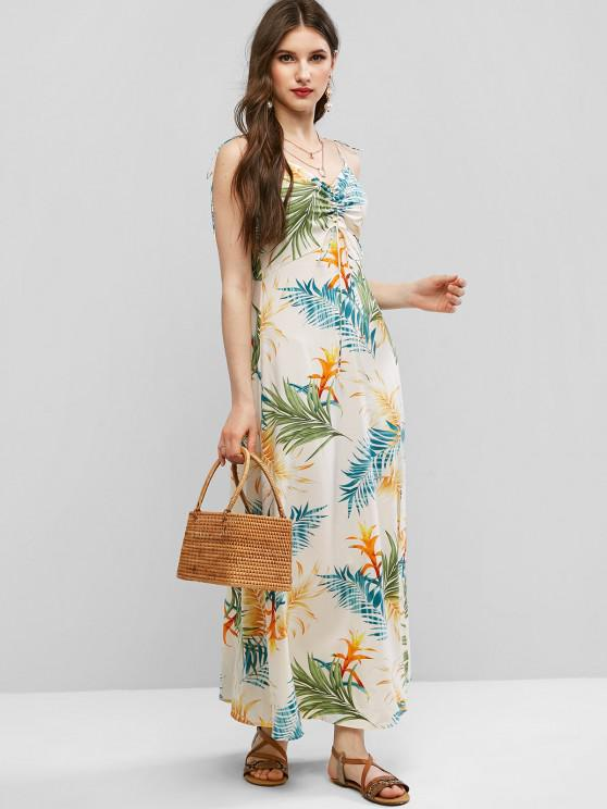 ZAFUL Tie Shoulder Cinched Floral Leaves Print Dress - Beige M