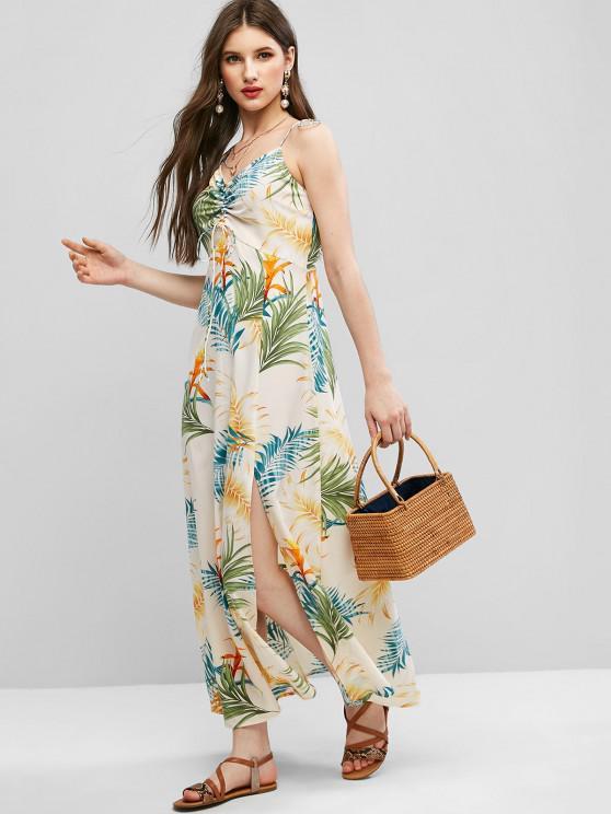 affordable ZAFUL Tie Shoulder Cinched Floral Leaves Print Dress - BEIGE L