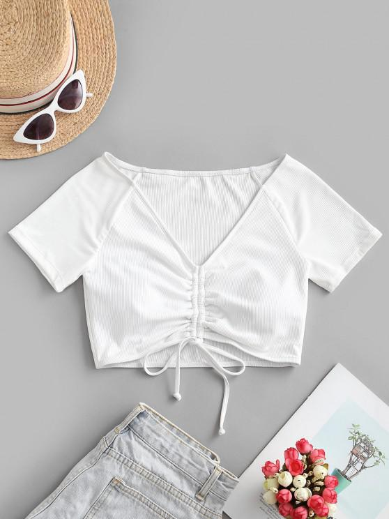 lady ZAFUL Ribbed Cinched Short Sleeve Swim Top - WHITE S