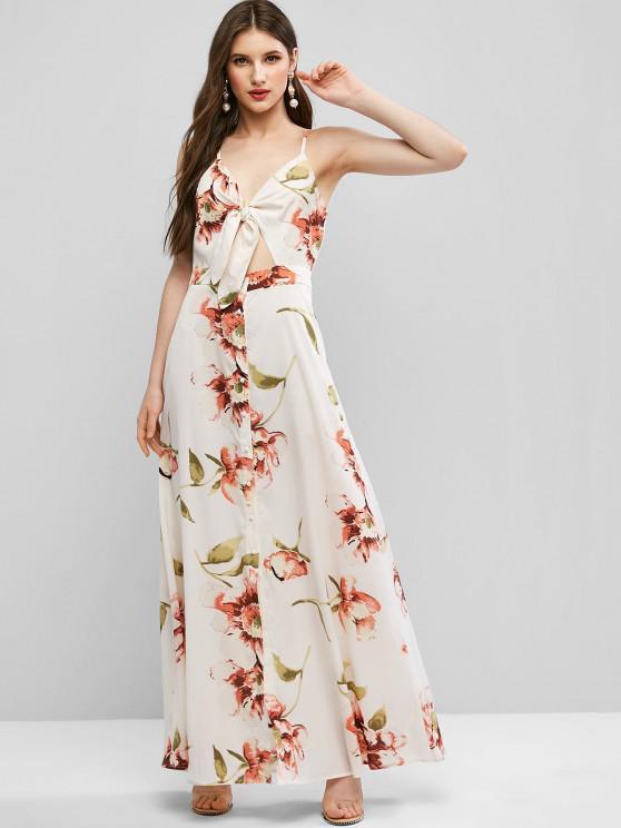 ZAFUL Tie Front Button Up Floral Maxi Dress - الأبيض الدافئ L