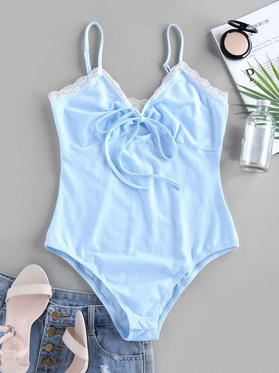 ZAFUL Tie Front Eyelash Lace Bodysuit - أزرق فاتح L