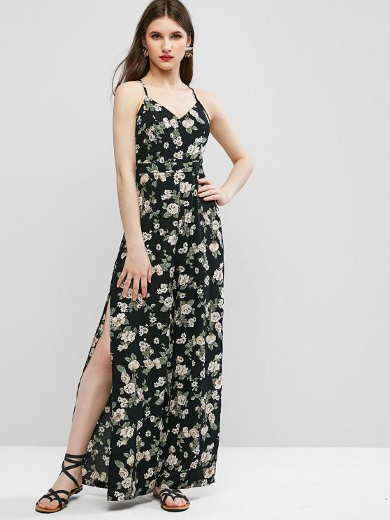 affordable ZAFUL Cami High Slit Floral Criss Cross Jumpsuit - BLACK S