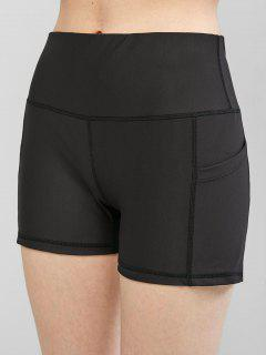 High Waisted Stitching Side Pockets Biker Shorts - Black S