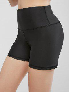 High Waisted Stitching Hidden Pocket Biker Shorts - Black Xl