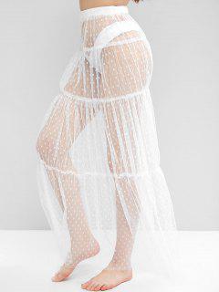 Swiss Dot Sheer Mesh Tiered Skirt - White M