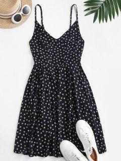 Ditsy Print Backless Cami Dress - Cadetblue L