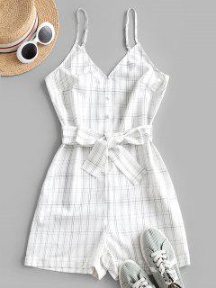 ZAFUL Plaid Loop Button Rolled Hem Belted Romper - White S