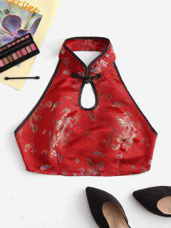 Dragon Peacock Feather Jacquard Oriental Keyhole Tank Top - Red M