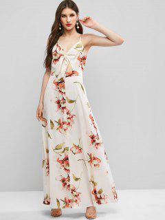 ZAFUL Tie Front Button Up Floral Maxi Dress - Warm White S