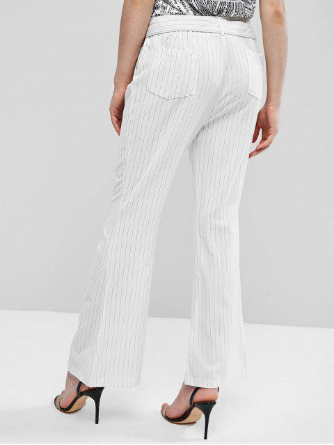 new ZAFUL Striped Belted Pocket Boot Cut Pants - WHITE XL Mobile