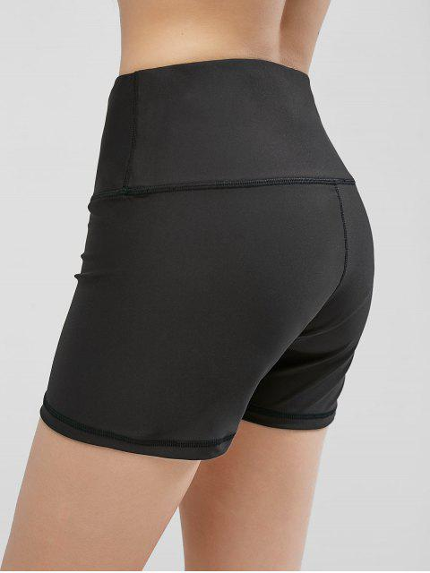 women's High Waisted Stitching Hidden Pocket Biker Shorts - BLACK M Mobile