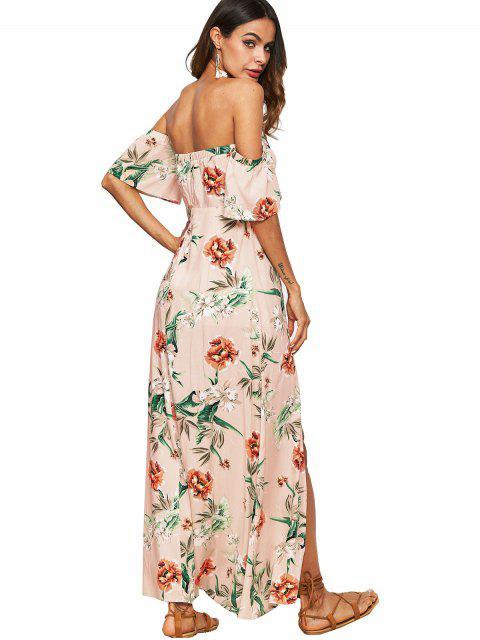 Vestido Maxi Ombro Caído com Corte e Estampa de Flor - Damasco XL Mobile