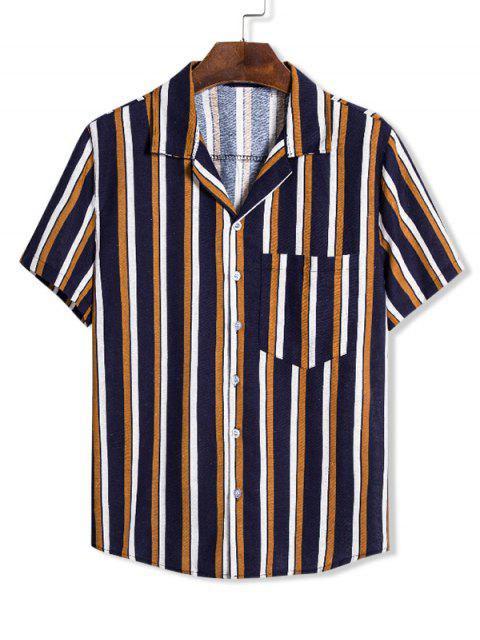 new Colorblock Vertical Striped Pocket Linen Shirt - MULTI 3XL Mobile