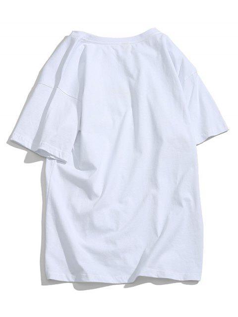 Rainbow Print Short Sleeve Graphic T-shirt - أبيض S Mobile