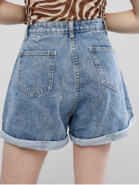 Shorts de Denim con Botones con Dobladillo con Cordones - Azul de Jeans  XL Mobile