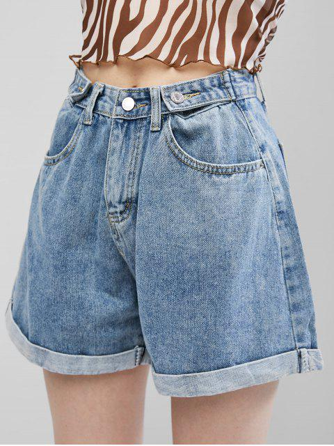 outfit Cuffed Hem Buttoned Tabs Denim Shorts - JEANS BLUE L Mobile