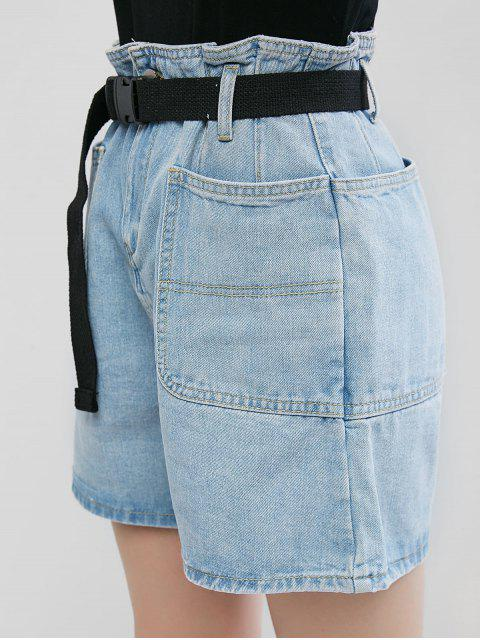 lady Denim Push Buckle Belted Paperbag Shorts - JEANS BLUE S Mobile