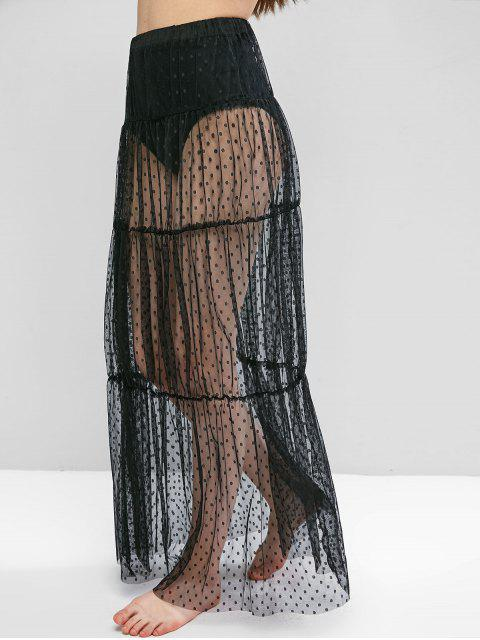 new Swiss Dot Sheer Mesh Tiered Skirt - BLACK S Mobile