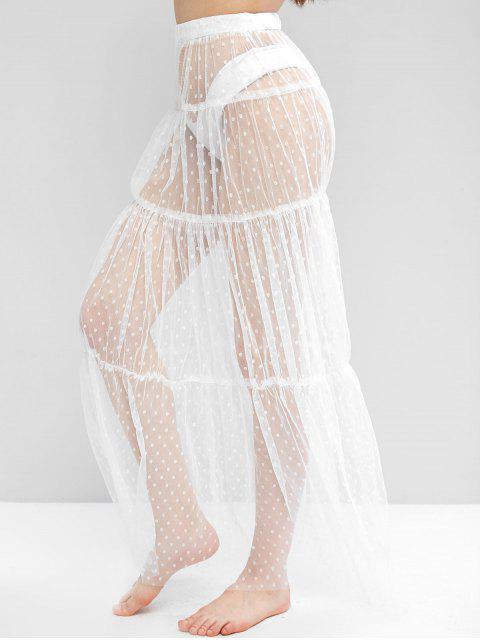 Jupe Superposée en Maille Transparente à Pois - Blanc L Mobile