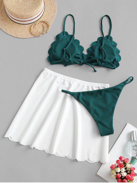 ZAFUL Bikini de Encaje Festoneado con Textura - Mar Verde Mediana L Mobile