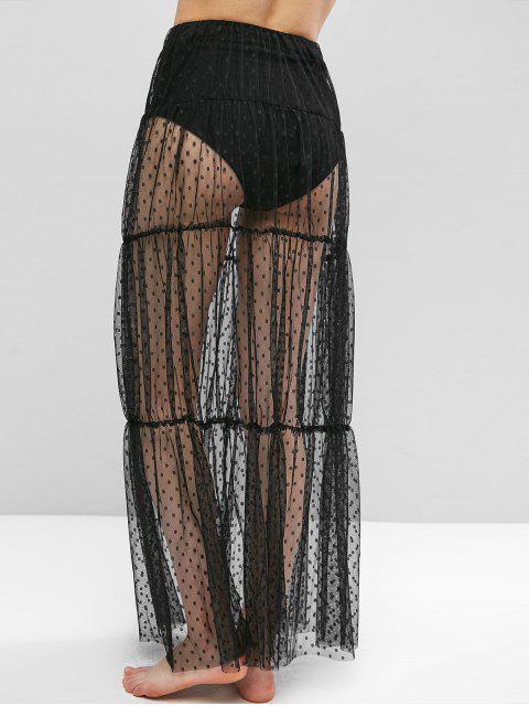 online Swiss Dot Sheer Mesh Tiered Skirt - BLACK M Mobile