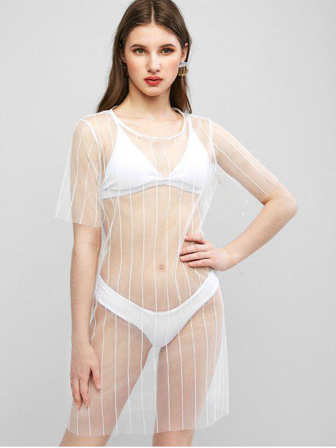 unique See Thru Mesh Cover-up Dress - WHITE S Mobile