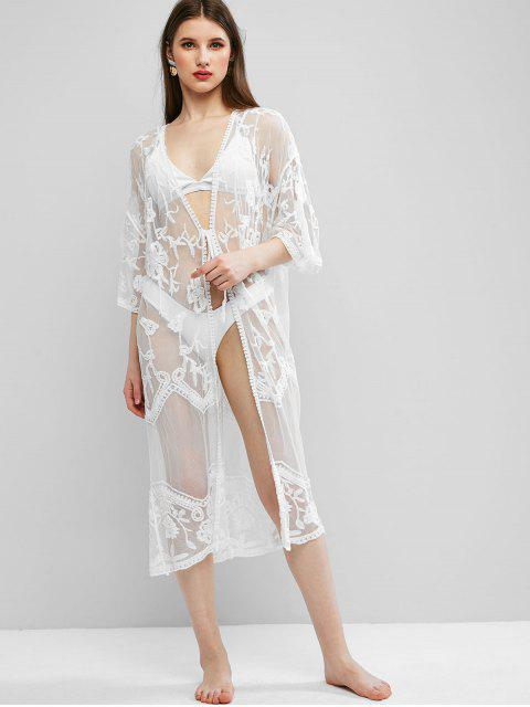 women Lace Flower Crochet Tie Front Longline Cover Up - WHITE ONE SIZE Mobile