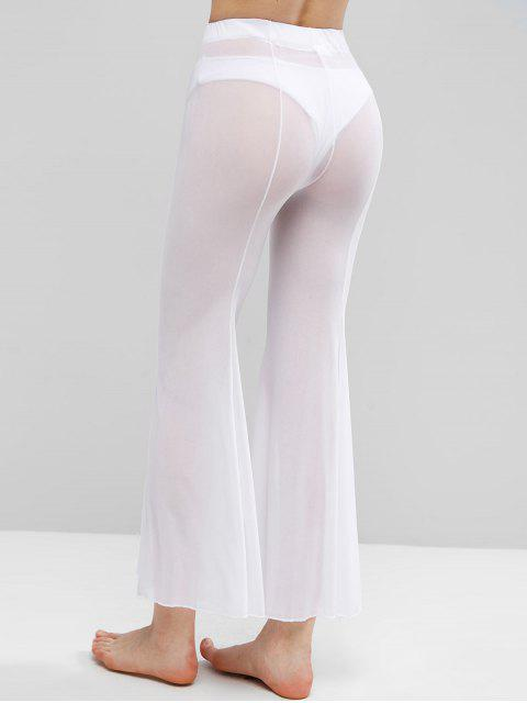 fancy Sheer Mesh Flare Bottom Cover-up Pants - WHITE L Mobile
