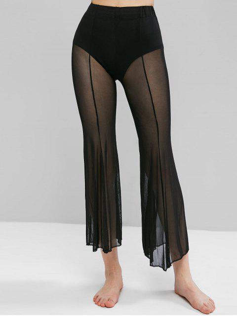 Pantalon Couverture Evasé en Maille Transparente - Noir L Mobile