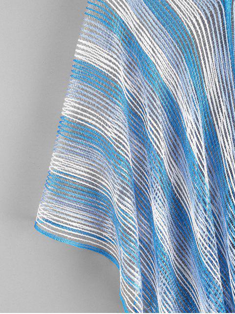 online Metallic Thread Fringed Kaftan - DAY SKY BLUE ONE SIZE Mobile