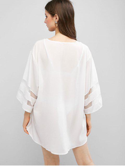 Kimono Envuelto de Panel de Malla con Nudo - Blanco XL Mobile
